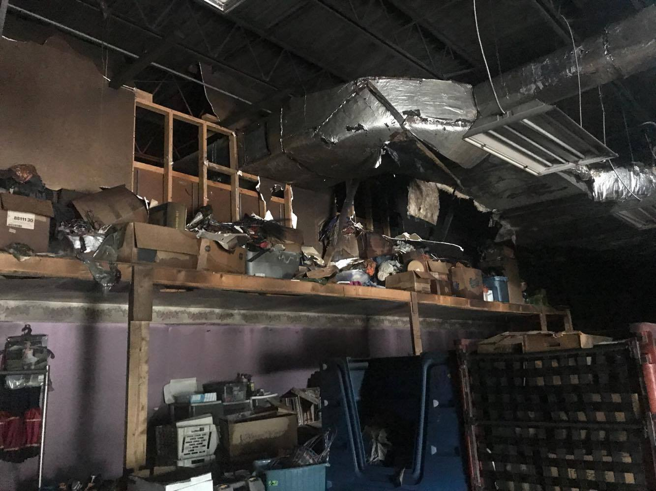 Fire destroyed the back room of the Hornell Salvation Army.