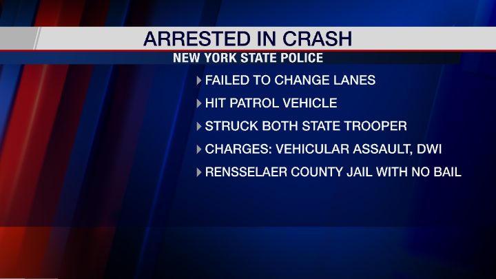 Driver charged with DWI after striking troopers in N. Greenbush, police say