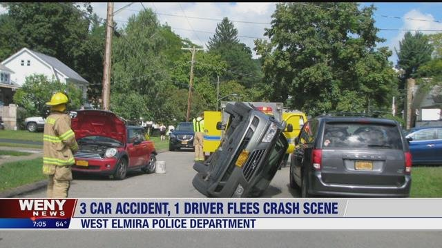 Driver flees the scene after causing 3 car accident - WENY News